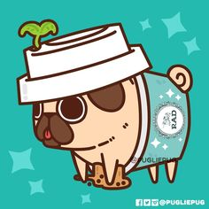 This Friday & Saturday at Rad Tea Room is the Rad Pop Up Shop with and I! Everyone who purchases anything from Tuna or I will get off all drinks, and when you treat yourself to any rad drink, you'll receive this exclusive sticker and a. Pug Wallpaper, Cute Wallpaper Backgrounds, Cute Wallpapers, Funny Animal Memes, Cute Funny Animals, Cute Cats, Pug Kawaii, Kawaii Art, Kawaii Doodles