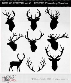 Deer Head  Silhouettes - Reindeer - Antlers Clipart - Deer Clip Art - vector EPS PNG and Photohshop Brushes- deer cliparts- deer silhouettes