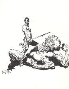 John Carter and a White Ape of Mars. Frazetta