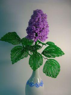 Сирень из бисера Ikebana, Beaded Crafts, Flowering Trees, Beaded Flowers, Needlework, Lilac, Projects To Try, Handmade, Art