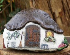 Country Cottage painted on stone