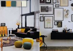 light black couch colorful knit poufs