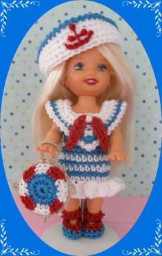 "Crochet Doll Clothes Blue Sailor Outfit for 4 ½"" Kelly  same sized dolls"