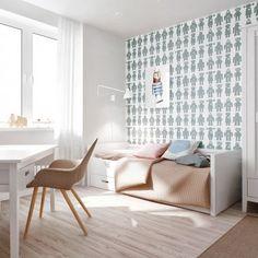 kids' room, desk, bed, chair, interior design ideas, robot wallpaper