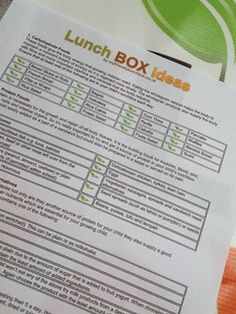Print out sheet for Healthy Lunch Box Ideas for a nutritious packed lunch. ideas_sideas_s