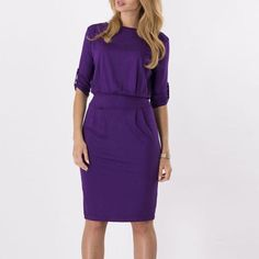 Spring Autumn Women Sexy Dress Ladies O Neck Roll Sleeve Casual Solid Knee