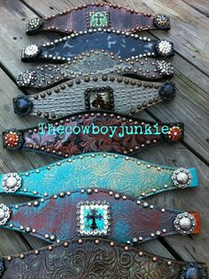 Bronc Halter nose bands. The blue and cream is my favorite