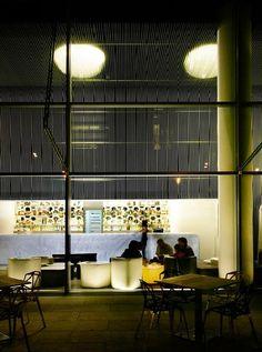 Dining area Interior design at Hotel Puerta America Design Hotel in Madrid Spain