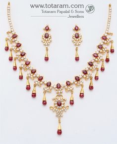 22K Gold CZ & Ruby Necklace & Drop Earrings set - GS438 - Indian Jewelry from Totaram Jewelers