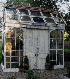 Amazing Shed Plans - green house shed constructed from reclaimed doors, windows - Now You Can Build ANY Shed In A Weekend Even If You've Zero Woodworking Experience! Start building amazing sheds the easier way with a collection of shed plans! Greenhouse Shed, Greenhouse Gardening, Greenhouse Wedding, Small Greenhouse, Old Window Greenhouse, Pallet Greenhouse, Portable Greenhouse, Indoor Greenhouse, Fairy Gardening