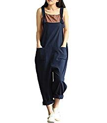 f9938d293785 Lncropo Women Large Plus Size Baggy Linen Overalls Casual Wide Leg Pants  Sleeveless Rompers Jumpsuit Vintage Haren Overalls – BABIES ITEMS