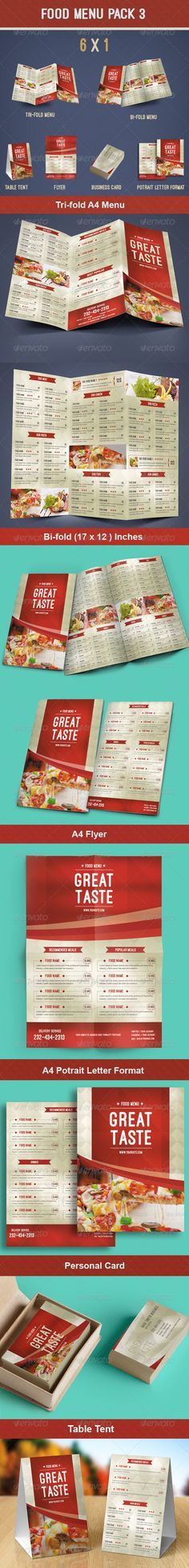 Food Menu Pack Template #design Download: http://graphicriver.net/item/food-menu-pack-3/8565596?ref=ksioks