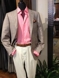 What's the perfect outfit to wear to a Kentucky Derby party? One with casual flair! This Pal Zileri plaid sport coat with soft brown, tan and pink lines really pops when paired with a bold pink Mason's sport shirt and earthy MAC jeans. The polished alligator belt from w.kleinberg and the perfectly matched pocket square from Daniel Dolce show a true attention to detail.