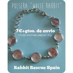 "#nuevo pulsera ""white Rabbit"" 7€+gtos. de envio. Pedidos: info@rabbitrescuespain.org"