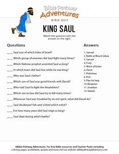 King Saul Bible Quiz for Kids Church Activities, Bible Activities, Sabbath Activities, Bible Games, Bible Study For Kids, Bible Lessons For Kids, Kids Bible, Bible Questions For Kids, Adventure Bible
