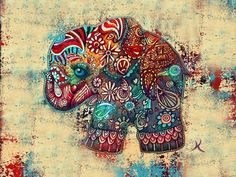 Vintage Elephant Painting by Karin Taylor - Vintage Elephant Fine Art Prints and Posters for Sale Vintage Elephant, Indian Elephant, Elephant Love, Colorful Elephant, Elephant Poster, Elephant Canvas, Elephant Artwork, Tattoo Elephant, Tribal Elephant