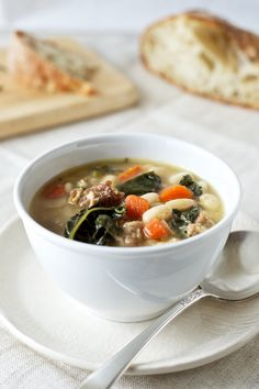 Kale White Bean + Sausage Soup for Phase 1 (without oil) or Phase 3. Use nitrate-free chicken or turkey sausage in this hearty soup.