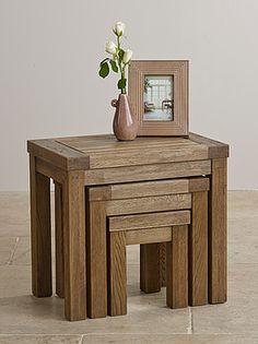 Windsor Brushed Solid Oak Nest Of Tables