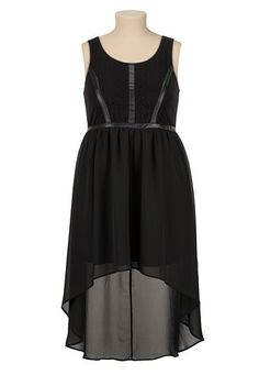 High-Low Faux Leather Trim Lace plus size Dress (original price, $59) available at #Maurices
