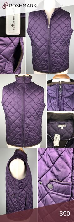 Peter Millar Crown Purple Quilted Golf Vest Size M Rutherford Vest  The Rutherford is a perfect travel companion. It's crafted from windproof, water-resistant diamond quilted polyester and features two angled side pockets for easy storage.   Men's 100% polyester vest Stand up collar, internal security pocket Dry clean or machine wash cold, gentle cycle; lay flat or hang to dry. Imported. Approximate Measurements:  Shoulder seam to shoulder seam: 17 inches  Armpit to armpit: 22.5 inches…