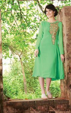 Green Rich Designer Readymade Georgette Kurti