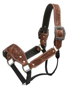 Showman Leather Floral Tooled Belt Halter - 161089
