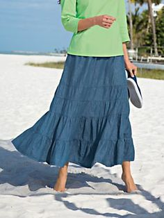 "'When I don't know what to wear, this is my 'go to' skirt."" ~from ""Juice"" about the Two Twenty® Tiered Denim Skirt 