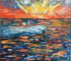 """Купить картина маслом """"Катер"""" - комбинированный, оранжевый, море, закат солнца, закат на море"""