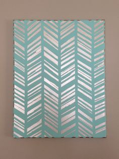 """Original Hand-Painted Acrylic Light Blue and Silver Feather Herringbone 11x14"""" Stretched Canvas"""