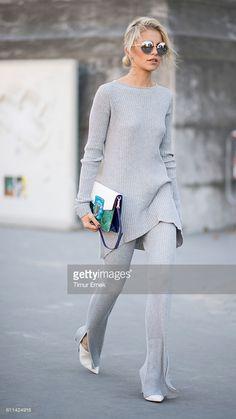 Caro Daur seen in the streets of Paris during Paris Fashion Week Spring/Summer 2017 on September 29, 2016 in Paris, France.