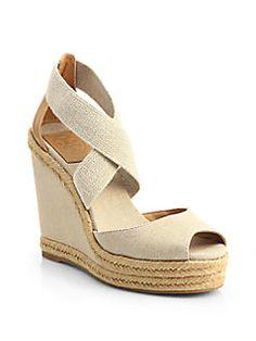 Tory Burch - Natanya Linen Espadrille Wedge Sandals