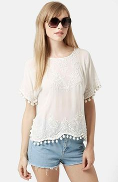 Topshop Pompom Tee available at #Nordstrom