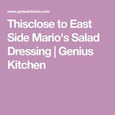 Thisclose to East Side Mario's Salad Dressing Salad Dressing Recipes, Salad Recipes, Vegan Gluten Free, Vegan Vegetarian, Salad Sandwich, Meal Prep, Food Prep, East Side, Copycat Recipes