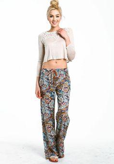 wide leg paisley pants - Pi Pants