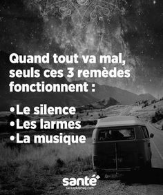 Il manque juste le chocolat When everything is wrong only those 3 cures works: -silence -tears -music Some Quotes, Words Quotes, Sayings, Art Quotes, French Quotes, Bad Mood, Positive Attitude, Music Quotes, Beautiful Words