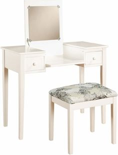 What a lovely vanity this is! It features a flip top mirror with a safety stay hinge and generously sized drawers. The spacious table top has room for an array of cosmetics, jewelry, and beauty supplies.   - AFFILIATE LINK