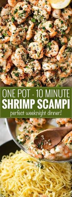 One Pot 10 Minute Shrimp Scampi | This shrimp scampi has all the classic garlicky flavors, is made in one pot, ready in 10 minutes, and is perfect on it's own or over some pasta!  Perfect for a busy weeknight! | http://thechunkychef.com | shrimp | scampi | easy | dinner | one pot | quick