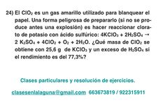 Ejercicio 24. Tema: Rendimiento (reacciones químicas)