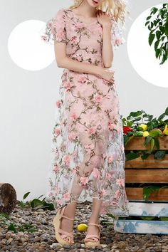 Blueoxy Pink Flower Appliqued Evening Dress | Maxi Dresses at DEZZALClick on picture to purchase!