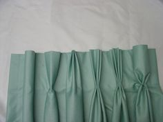 From left to right: Cartridge pleat, Reverse pleat, Euro pleat, French pleat, (3 fold) Quad pleat, (4 fold) Goblet pleat.