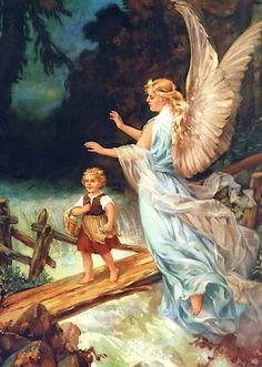 Schutzengel bewacht Kind auf Brücke Mädchen Gebirgsbach St. Bü Sankt A3 0075 - Billerantik