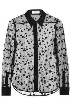Embroidered cotton-blend mesh and silk shirt #shirt #covetme #saintlaurent