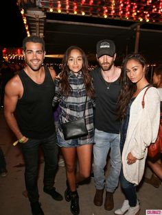 Fantastic four: Ashley Madekwe and Iddo Goldberg were sandwiched between Jesse and Cara as the group posed for a photo Neon Carnival, Ashley Madekwe, Kelly Osbourne, Paige Denim, Festival Fashion, Coachella, Bohemian Style, The Row, Street Style