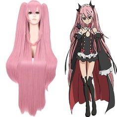 New Arrive 100cm Seraph of the end Krul Tepes pink long straight synthetic cos wig -- To view further for this item, visit the image link.