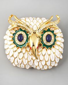 White Owl Pin by Kenneth Jay Lane at Neiman Marcus.