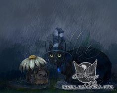Stormy Weather Ash Evans fantasy black cat art print by AshEvans, $15.00