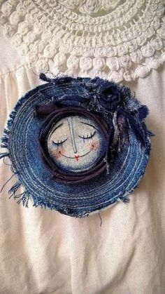 Denim Brooch with painted face center