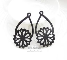Dyeing Series  6 PCS  32x 59mm  Filigree Black Flower by halocolor