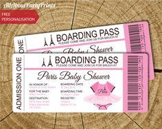 Paris boarding pass birthday invitation free by dazzleexpressions paris baby shower passport and boarding pass invitation invitation printable jpeg format printables digital file filmwisefo