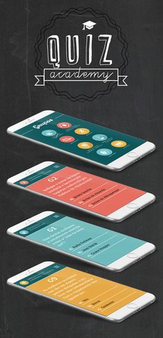 """Designed with Flat style."" Quiz Academy on Behance"